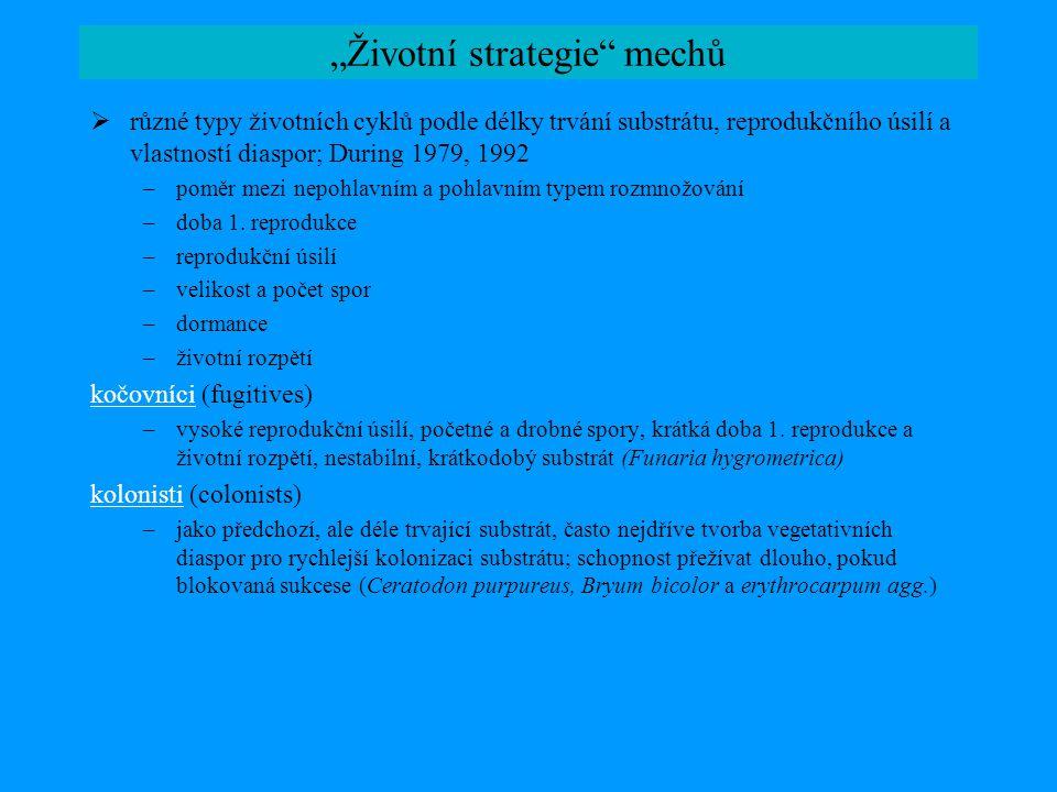 """""""Životní strategie"""" mechů  různé typy životních cyklů podle délky trvání substrátu, reprodukčního úsilí a vlastností diaspor; During 1979, 1992 –pomě"""