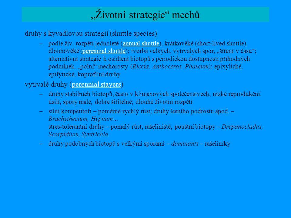 """""""Životní strategie"""" mechů druhy s kyvadlovou strategií (shuttle species) –podle živ. rozpětí jednoleté (annual shuttle), krátkověké (short-lived shutt"""