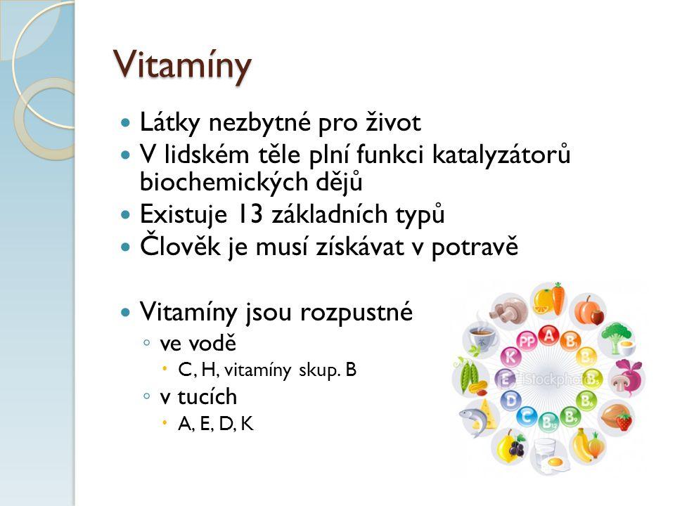 Vitamíny Látky nezbytné pro život V lidském těle plní funkci katalyzátorů biochemických dějů Existuje 13 základních typů Člověk je musí získávat v potravě Vitamíny jsou rozpustné ◦ ve vodě  C, H, vitamíny skup.
