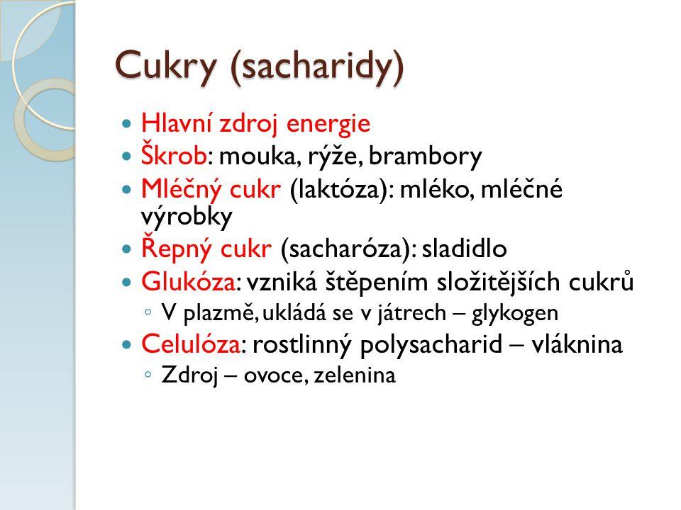 Cukry (sacharidy) Hlavní zdroj energie Škrob: mouka, rýže, brambory Mléčný cukr (laktóza): mléko, mléčné výrobky Řepný cukr (sacharóza): sladidlo Glukóza: vzniká štěpením složitějších cukrů ◦ V plazmě, ukládá se v játrech – glykogen Celulóza: rostlinný polysacharid – vláknina ◦ Zdroj – ovoce, zelenina