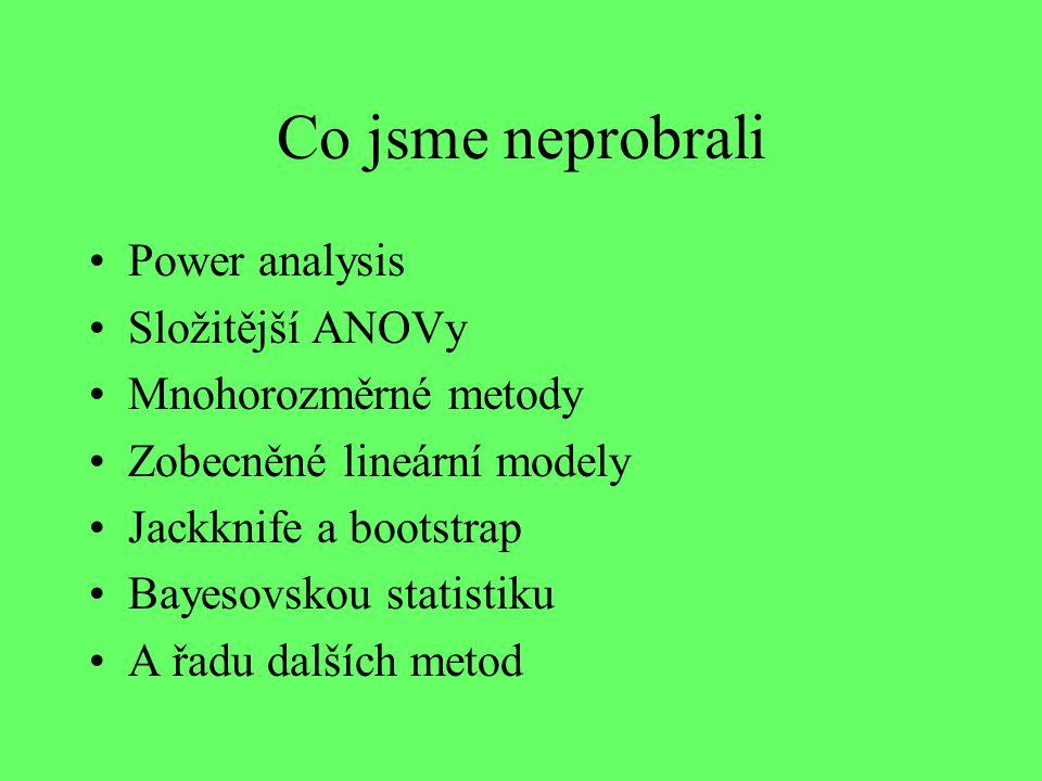 Co jsme neprobrali Power analysis Složitější ANOVy Mnohorozměrné metody Zobecněné lineární modely Jackknife a bootstrap Bayesovskou statistiku A řadu dalších metod