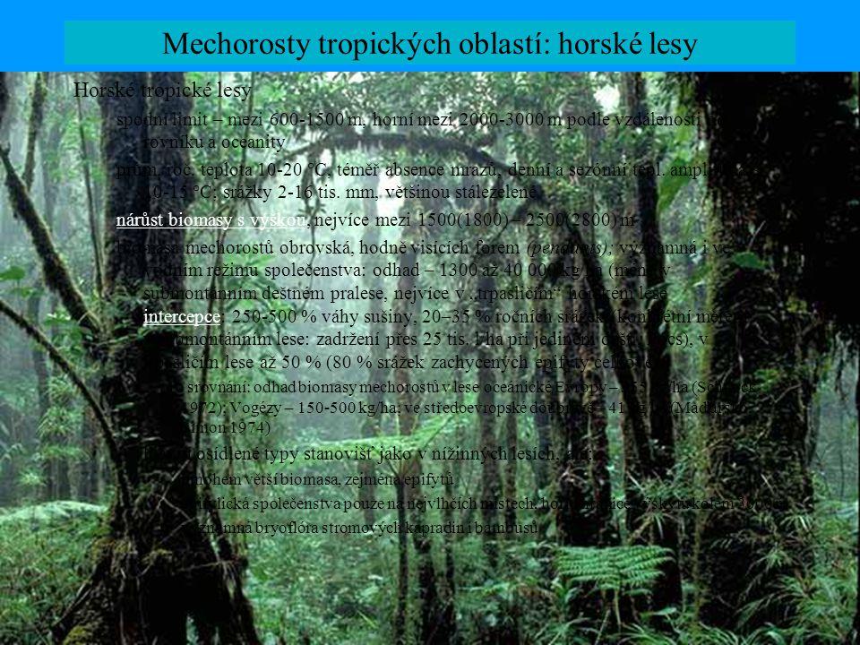 Mechorosty tropických oblastí: horské lesy Horské tropické lesy spodní limit – mezi 600-1500 m, horní mezi 2000-3000 m podle vzdálenosti od rovníku a oceanity prům.