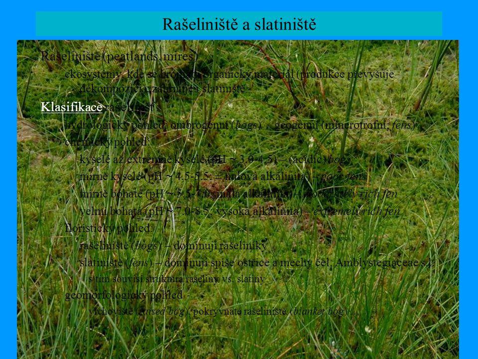 Rašeliniště a slatiniště Rašeliniště (peatlands, mires) ekosystémy, kde se hromadí organický materiál (produkce převyšuje dekompozici); zahrnuje i sla
