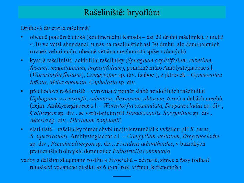Rašeliniště: bryoflóra Druhová diverzita rašelinišť obecně poměrně nízká (kontinentální Kanada – asi 20 druhů rašeliníků, z nichž < 10 ve větší abundanci; u nás na rašeliništích asi 30 druhů, ale dominantních rovněž velmi málo; obecně většina mechorostů spíše vzácných) kyselá rašeliniště: acidofilní rašeliníky (Sphagnum capillifolium, rubellum, fuscum, magellanicum, angustifolium), poměrně málo Amblystegiaceae s.l.