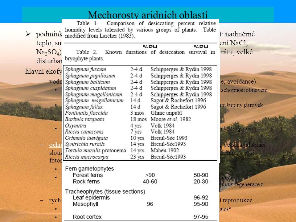 Mechorosty aridních oblastí  podmínky, se kterými se musí mechorosty v aridních vyrovnat: nadměrné teplo, sucho, vysoká koncentrace toxických látek (