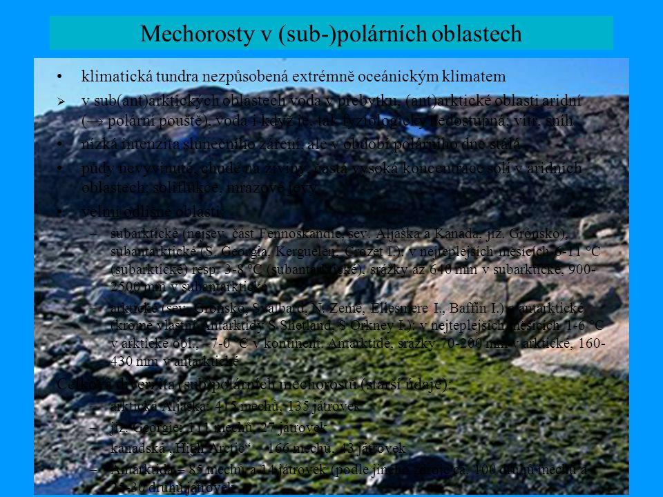 Mechorosty v (sub-)polárních oblastech v nejrůznějších biotopech, zejména mokřadch, na terestrických biotopech, skalních výchozech a štěrbinách, významná koprofilní společenstva nejjižnější výskyt mechu v Antarktidě – Ceratodon purpureus zaznamenán na Mt Kyffin, 84° 30' žádné známé endemity kontinentální Antarktidy, teprve ze sev.