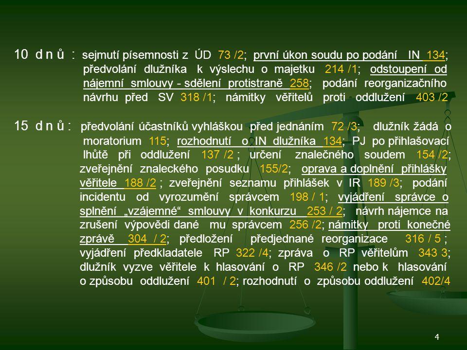 5 30 dnů: neschopnost dlužníka platit splatné závazky 3 /1/ b; SV po žádosti věřitelů 47 / 1; prodloužení moratoria 119 /2; lhůta k přihláškám 136 / 3 a 4; rozhodnutí o oddlužení 149 /2; žaloba o tom, že pohledávka trvá 186 /2; incidenční spor 198 /1 a 199 /1; vylučovací žaloba 225 /2; vylučovací žaloba u neplatných úkonů 233 / 2; plnění rozvrhu 307 / 3; oprava reorganizačního návrhu 321 /2; návrhy na zákaz dlužníkových dispozic majetkem 332 /2; statutáři dlužníka při reorganizaci 333 /3; odmítnutí RP věřiteli 361 /2; návrh na oddlužení 390 /1; dlužníkova insolvence a oddlužení 418/1/c 60 d n ů : týká se úpadku finančních institucí 370 /2 / d; 373 /2; 374 /1; 385 /2 120 d n ů : předložení reorganizačního plánu 329 / 1/ c) a 339 /1