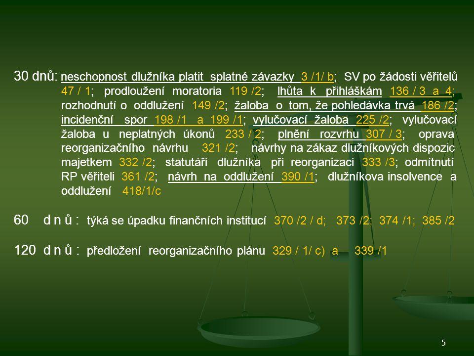 6 2měsíce : pro odvolací rozhodnutí 93 /2; přihlášky pohledávek 136 /3; schůze věřitelů 137 /1; přezkumné jednání 137 /2; plnění rozvrhu 307 /2; 3měsíce : domněnka insolvence - neplacení závazků 3 /2/b); správce předkládá zprávy 36 /2; žaloba dlužníka na NŠ způsobené zahájením insolven.