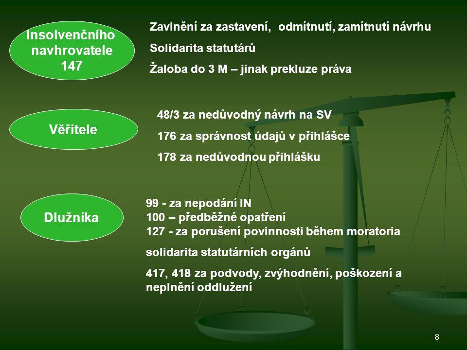 9 ÚPADEK 3 Insolvence Domněnka insolvence Předlužení Hrozící úpadek.peněžité závazky.