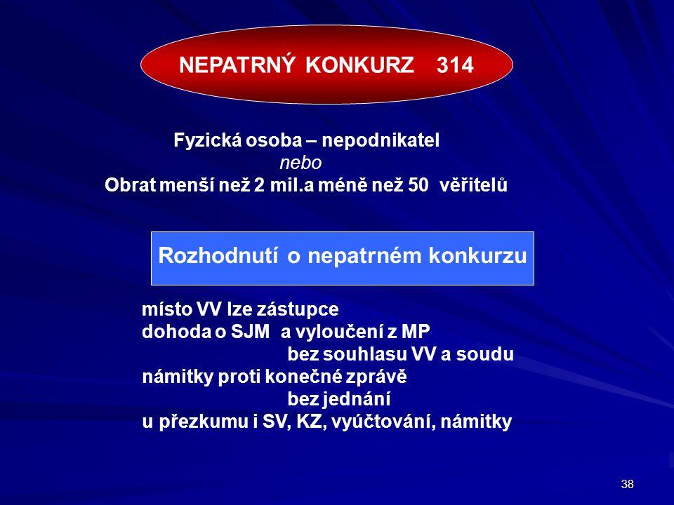 38 místo VV lze zástupce dohoda o SJM a vyloučení z MP bez souhlasu VV a soudu námitky proti konečné zprávě bez jednání u přezkumu i SV, KZ, vyúčtován
