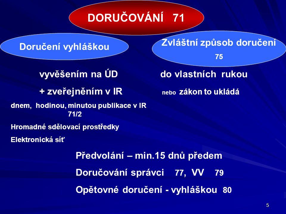 5 vyvěšením na ÚD do vlastních rukou + zveřejněním v IR nebo zákon to ukládá dnem, hodinou, minutou publikace v IR 71/2 Hromadné sdělovací prostředky