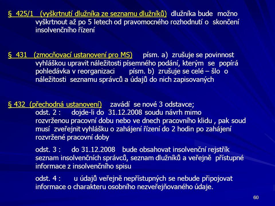 60 § 425/1 (vyškrtnutí dlužníka ze seznamu dlužníků) dlužníka bude možno vyškrtnout až po 5 letech od pravomocného rozhodnutí o skončení insolvenčního