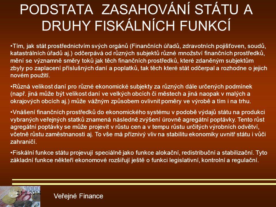 PODSTATA ZASAHOVÁNÍ STÁTU A DRUHY FISKÁLNÍCH FUNKCÍ Veřejné Finance Tím, jak stát prostřednictvím svých orgánů (Finančních úřadů, zdravotních pojišťov