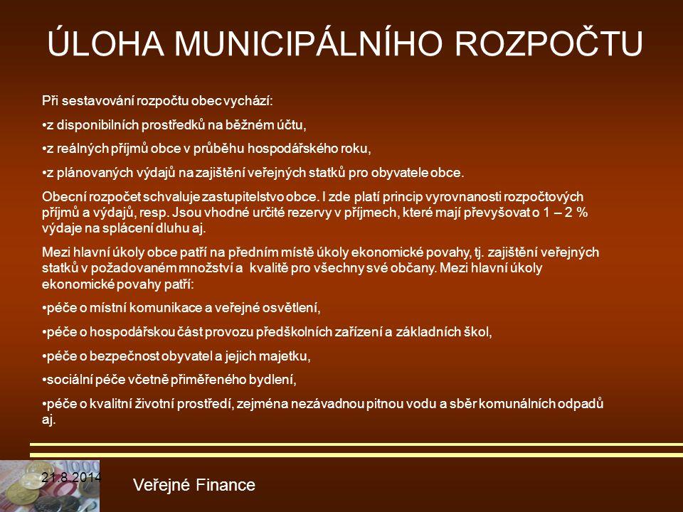 ÚLOHA MUNICIPÁLNÍHO ROZPOČTU Veřejné Finance Při sestavování rozpočtu obec vychází: z disponibilních prostředků na běžném účtu, z reálných příjmů obce