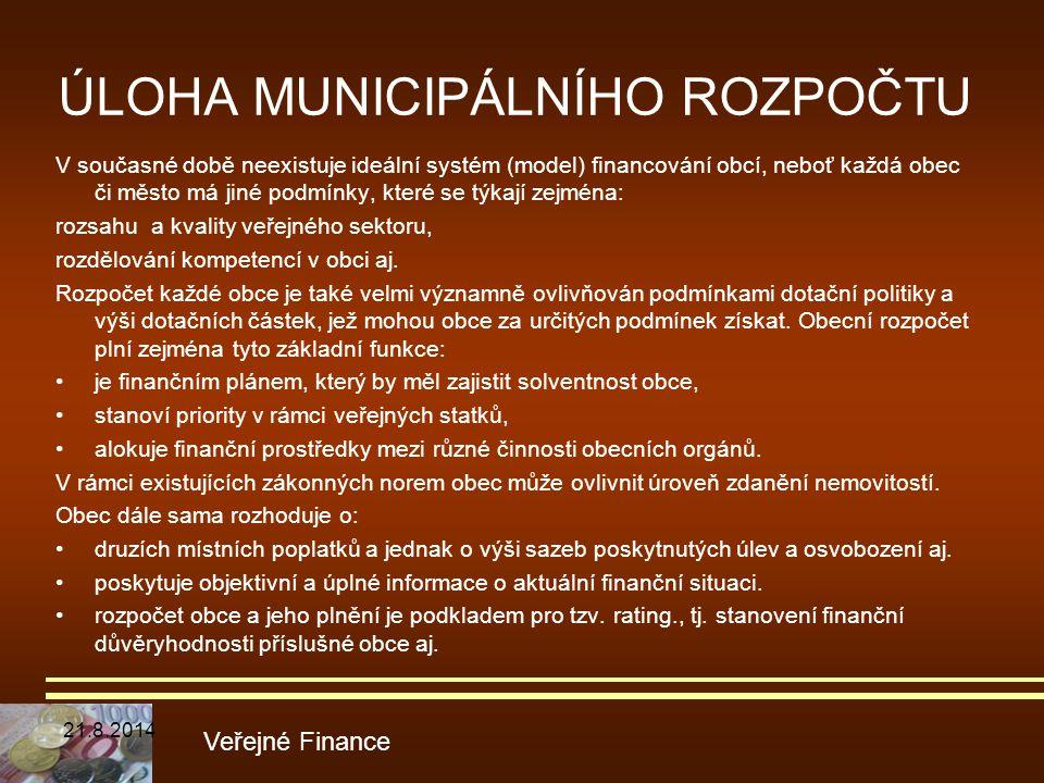 ÚLOHA MUNICIPÁLNÍHO ROZPOČTU V současné době neexistuje ideální systém (model) financování obcí, neboť každá obec či město má jiné podmínky, které se