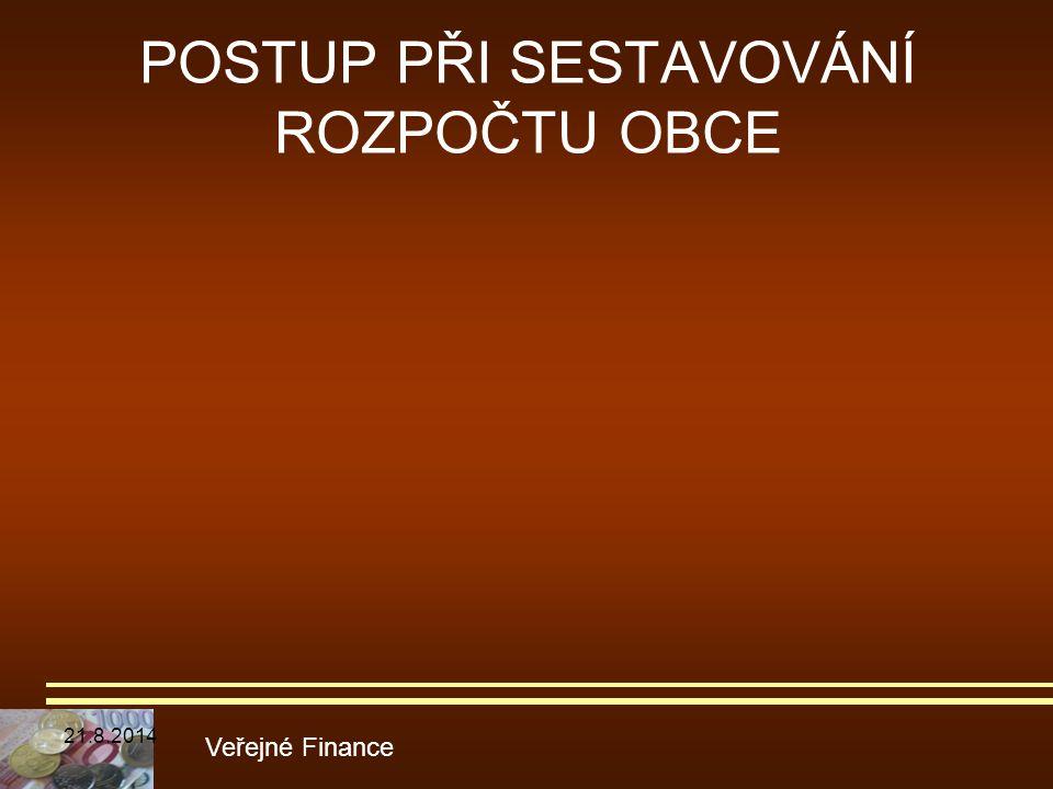 POSTUP PŘI SESTAVOVÁNÍ ROZPOČTU OBCE Veřejné Finance 21.8.2014