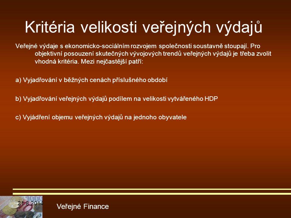 Kritéria velikosti veřejných výdajů Veřejné výdaje s ekonomicko-sociálním rozvojem společnosti soustavně stoupají. Pro objektivní posouzení skutečných