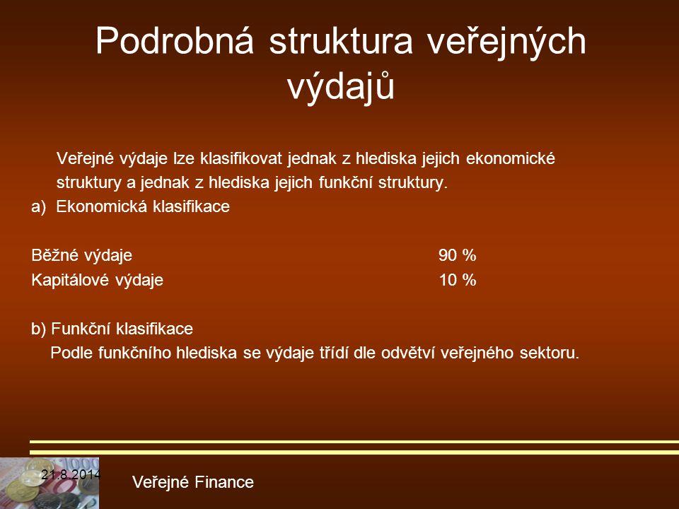 Podrobná struktura veřejných výdajů Veřejné výdaje lze klasifikovat jednak z hlediska jejich ekonomické struktury a jednak z hlediska jejich funkční s