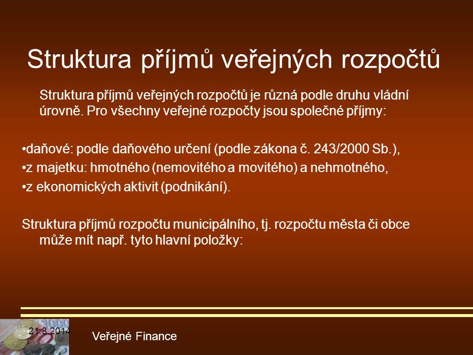 Struktura příjmů veřejných rozpočtů Struktura příjmů veřejných rozpočtů je různá podle druhu vládní úrovně. Pro všechny veřejné rozpočty jsou společné
