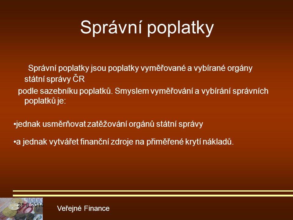 Správní poplatky Správní poplatky jsou poplatky vyměřované a vybírané orgány státní správy ČR podle sazebníku poplatků. Smyslem vyměřování a vybírání