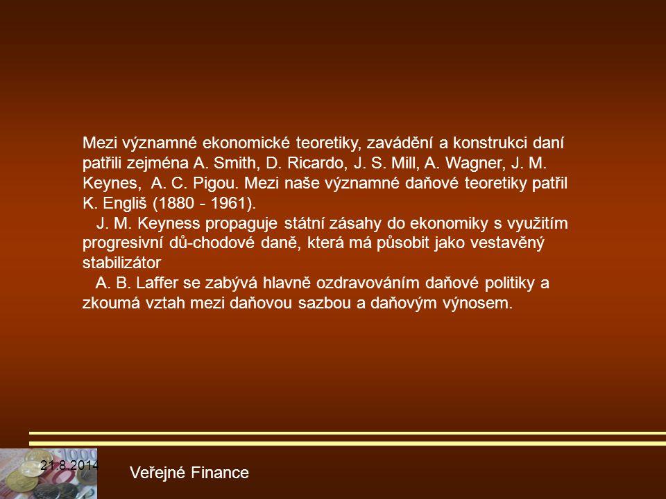 Veřejné Finance Mezi významné ekonomické teoretiky, zavádění a konstrukci daní patřili zejména A. Smith, D. Ricardo, J. S. Mill, A. Wagner, J. M. Keyn