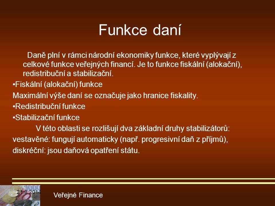 Daně plní v rámci národní ekonomiky funkce, které vyplývají z celkové funkce veřejných financí. Je to funkce fiskální (alokační), redistribuční a stab