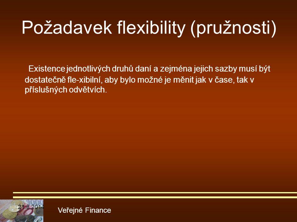 Požadavek flexibility (pružnosti) Existence jednotlivých druhů daní a zejména jejich sazby musí být dostatečně fle-xibilní, aby bylo možné je měnit ja