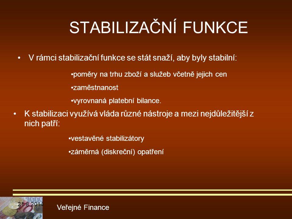 STABILIZAČNÍ FUNKCE V rámci stabilizační funkce se stát snaží, aby byly stabilní: Veřejné Finance poměry na trhu zboží a služeb včetně jejich cen zamě