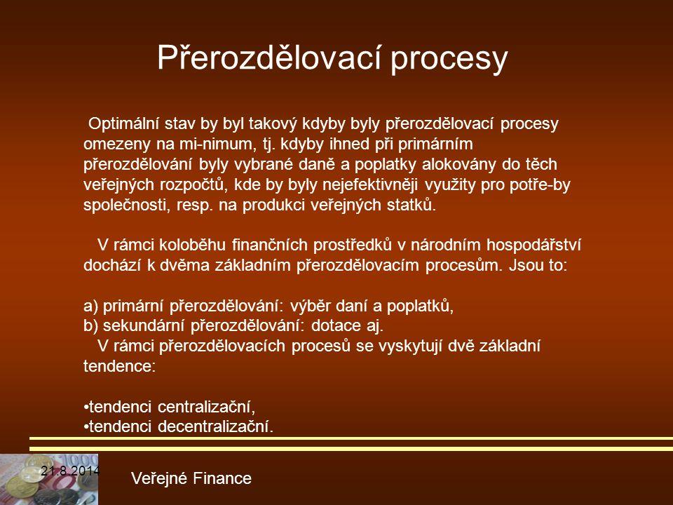 Přerozdělovací procesy Veřejné Finance Optimální stav by byl takový kdyby byly přerozdělovací procesy omezeny na mi-nimum, tj. kdyby ihned při primárn