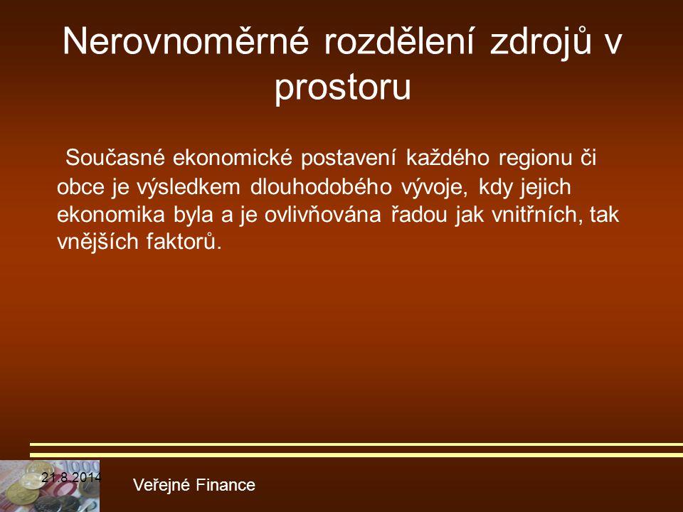 Nerovnoměrné rozdělení zdrojů v prostoru Současné ekonomické postavení každého regionu či obce je výsledkem dlouhodobého vývoje, kdy jejich ekonomika