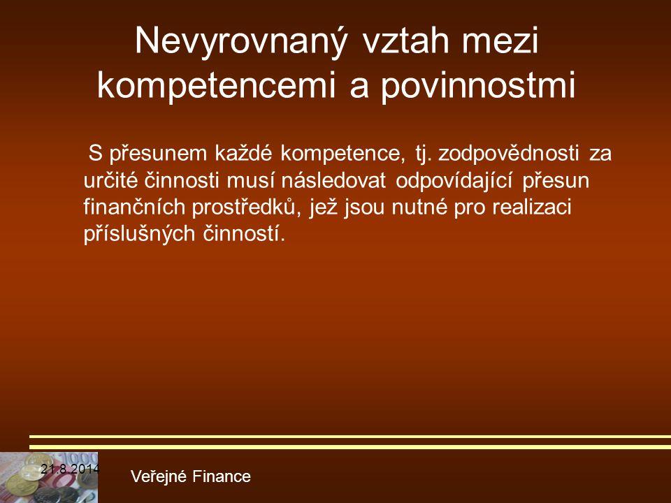 Nevyrovnaný vztah mezi kompetencemi a povinnostmi Veřejné Finance S přesunem každé kompetence, tj. zodpovědnosti za určité činnosti musí následovat od