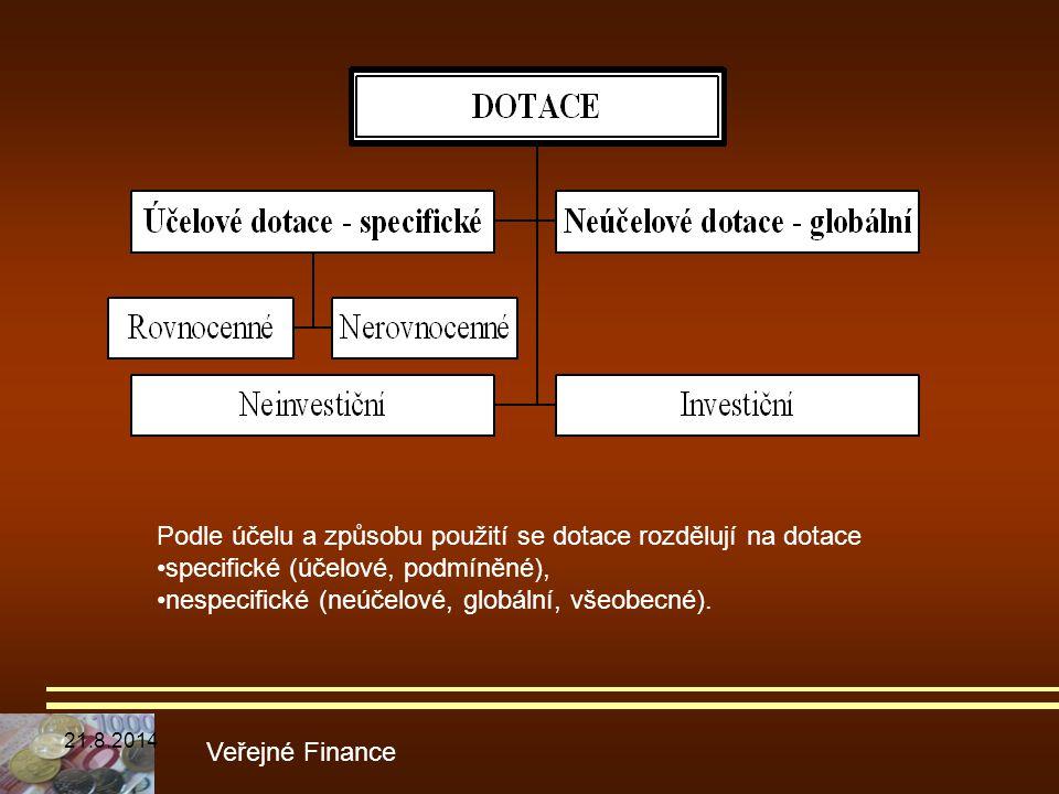 Veřejné Finance Podle účelu a způsobu použití se dotace rozdělují na dotace specifické (účelové, podmíněné), nespecifické (neúčelové, globální, všeobe