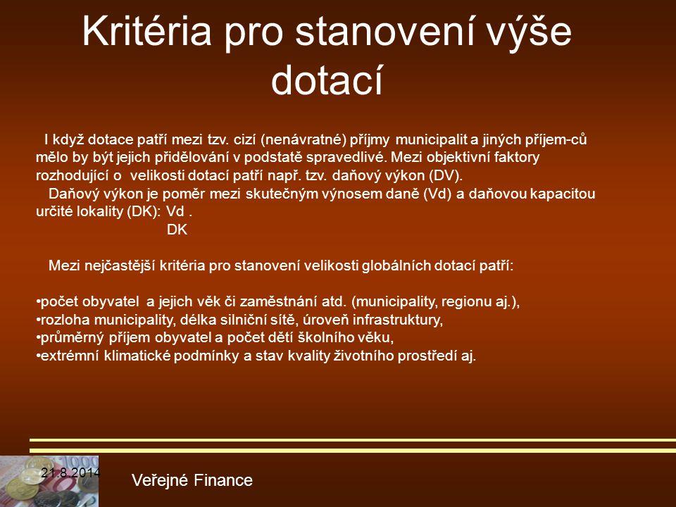 Kritéria pro stanovení výše dotací Veřejné Finance I když dotace patří mezi tzv. cizí (nenávratné) příjmy municipalit a jiných příjem-ců mělo by být j