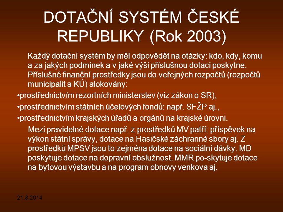 DOTAČNÍ SYSTÉM ČESKÉ REPUBLIKY (Rok 2003) Každý dotační systém by měl odpovědět na otázky: kdo, kdy, komu a za jakých podmínek a v jaké výši příslušno