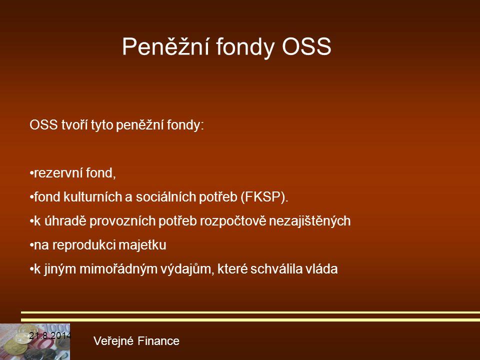 Veřejné Finance OSS tvoří tyto peněžní fondy: rezervní fond, fond kulturních a sociálních potřeb (FKSP). k úhradě provozních potřeb rozpočtově nezajiš