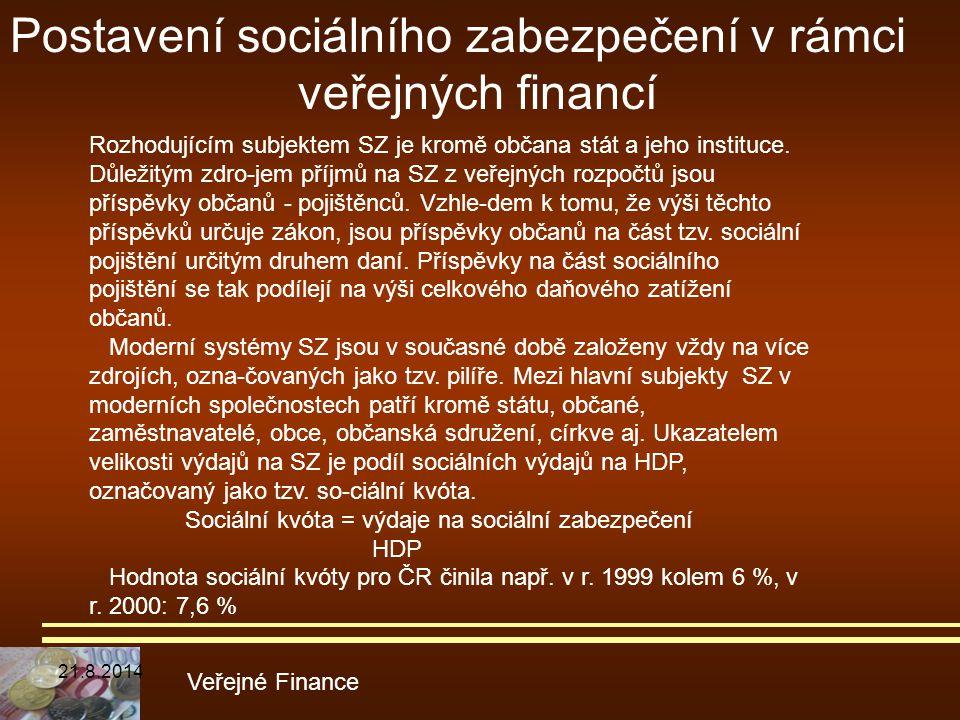 Veřejné Finance Rozhodujícím subjektem SZ je kromě občana stát a jeho instituce. Důležitým zdro-jem příjmů na SZ z veřejných rozpočtů jsou příspěvky o