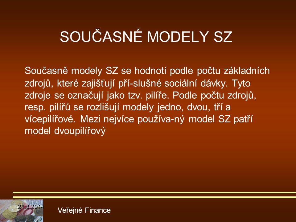 SOUČASNÉ MODELY SZ Současně modely SZ se hodnotí podle počtu základních zdrojů, které zajišťují pří-slušné sociální dávky. Tyto zdroje se označují jak