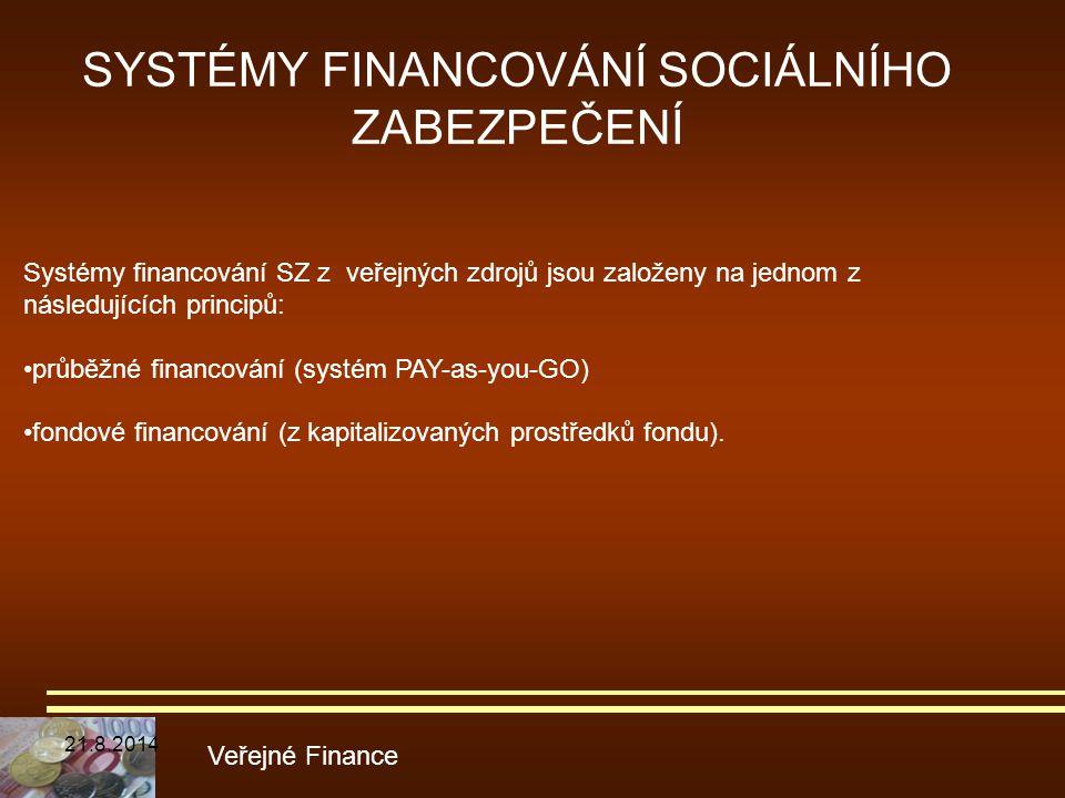SYSTÉMY FINANCOVÁNÍ SOCIÁLNÍHO ZABEZPEČENÍ Veřejné Finance Systémy financování SZ z veřejných zdrojů jsou založeny na jednom z následujících principů: