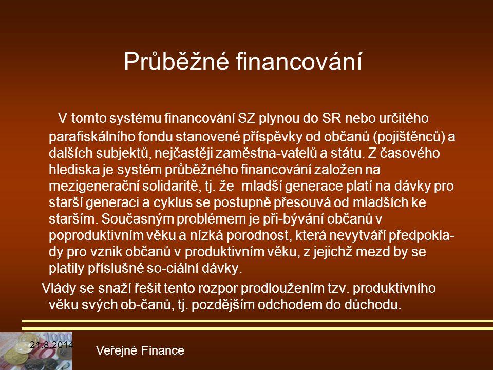 Průběžné financování V tomto systému financování SZ plynou do SR nebo určitého parafiskálního fondu stanovené příspěvky od občanů (pojištěnců) a další
