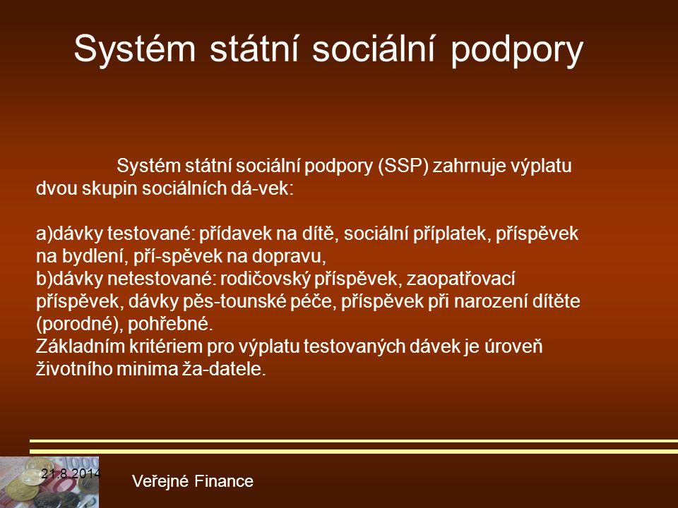 Systém státní sociální podpory Veřejné Finance Systém státní sociální podpory (SSP) zahrnuje výplatu dvou skupin sociálních dá-vek: a)dávky testované: