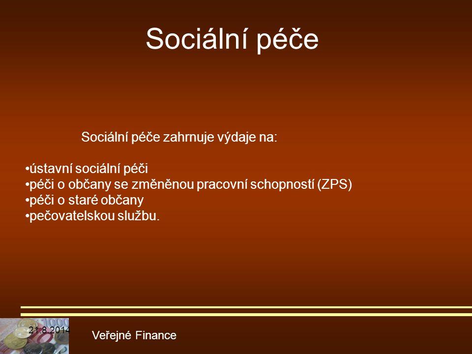 Sociální péče Veřejné Finance Sociální péče zahrnuje výdaje na: ústavní sociální péči péči o občany se změněnou pracovní schopností (ZPS) péči o staré