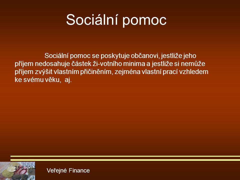 Sociální pomoc Veřejné Finance Sociální pomoc se poskytuje občanovi, jestliže jeho příjem nedosahuje částek ži-votního minima a jestliže si nemůže pří