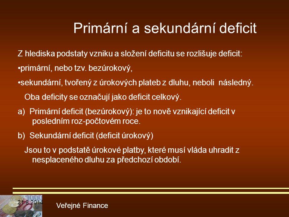 Veřejné Finance Z hlediska podstaty vzniku a složení deficitu se rozlišuje deficit: primární, nebo tzv. bezúrokový, sekundární, tvořený z úrokových pl