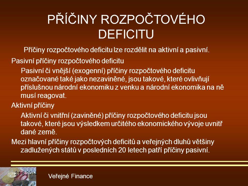 Příčiny rozpočtového deficitu lze rozdělit na aktivní a pasivní. Pasivní příčiny rozpočtového deficitu Pasivní či vnější (exogenní) příčiny rozpočtové