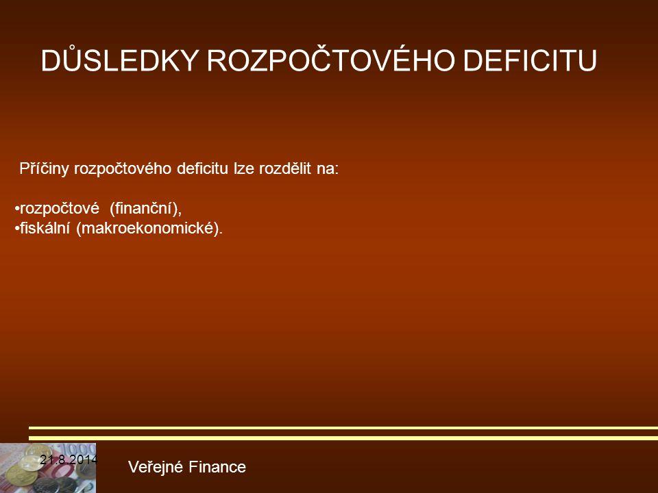 DŮSLEDKY ROZPOČTOVÉHO DEFICITU Veřejné Finance Příčiny rozpočtového deficitu lze rozdělit na: rozpočtové (finanční), fiskální (makroekonomické). 21.8.