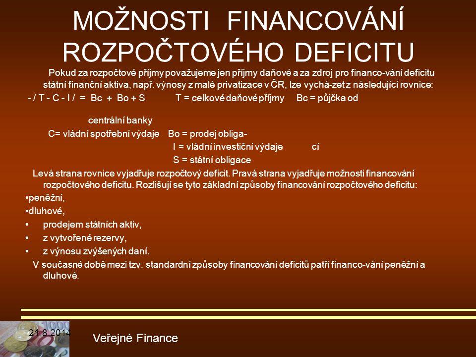 MOŽNOSTI FINANCOVÁNÍ ROZPOČTOVÉHO DEFICITU Pokud za rozpočtové příjmy považujeme jen příjmy daňové a za zdroj pro financo-vání deficitu státní finančn
