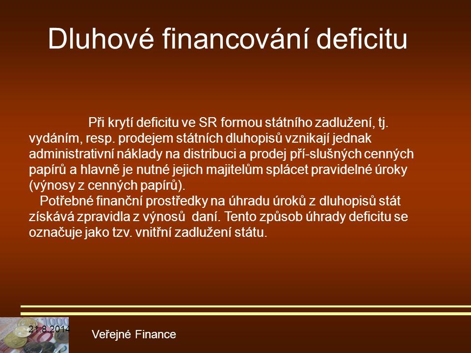 Dluhové financování deficitu Veřejné Finance Při krytí deficitu ve SR formou státního zadlužení, tj. vydáním, resp. prodejem státních dluhopisů vznika