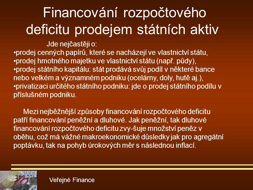 Financování rozpočtového deficitu prodejem státních aktiv Veřejné Finance Jde nejčastěji o: prodej cenných papírů, které se nacházejí ve vlastnictví s