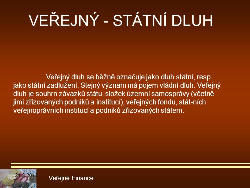 VEŘEJNÝ - STÁTNÍ DLUH Veřejné Finance Veřejný dluh se běžně označuje jako dluh státní, resp. jako státní zadlužení. Stejný význam má pojem vládní dluh