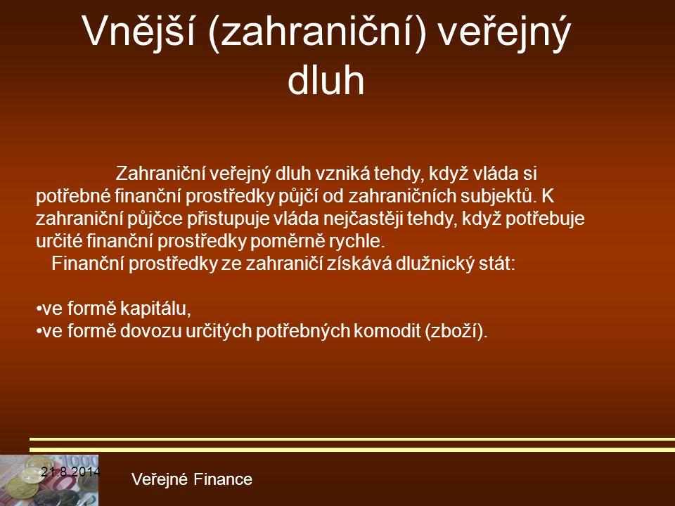 Vnější (zahraniční) veřejný dluh Veřejné Finance Zahraniční veřejný dluh vzniká tehdy, když vláda si potřebné finanční prostředky půjčí od zahraničníc